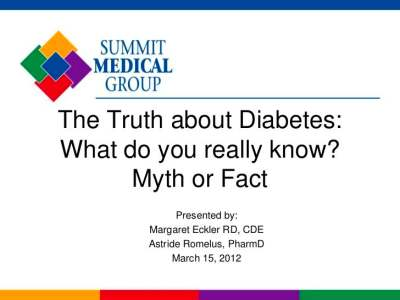 The Truth About Diabetes: Myths versus Facts