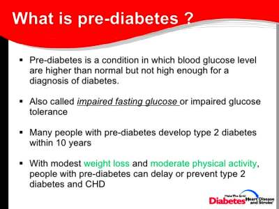 What is pre diabetes called