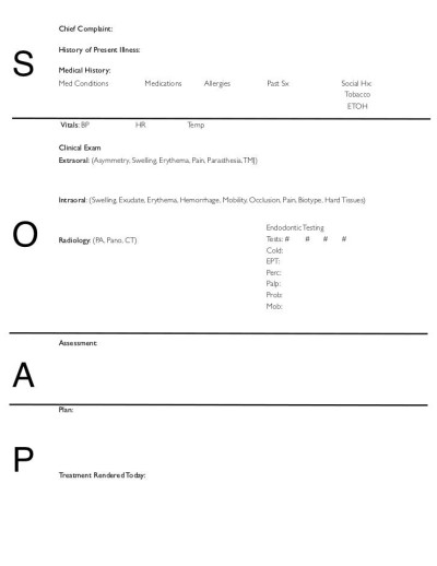 SOAP Notes - Dentistry -Pages format