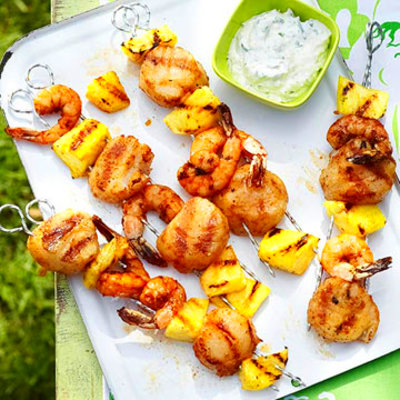 Shrimp, Scallops, and Pineapple Skewers with Cilantro ...