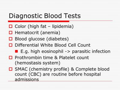 (high fat – lipidemia) Hematocrit (anemia) Blood glucose (diabetes ...