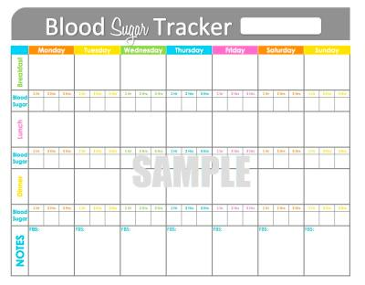 Blood Sugar Tracker - Printable for Health, Medical, Fitness - INSTANT ...
