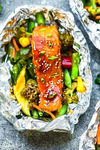 Teriyaki Salmon Foil Packets - (Baked or Grilled in Tin Foil)