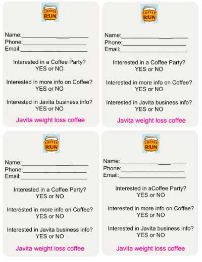 Javita Draw Slips.. Great for parties and vendor shows..