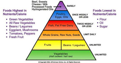 "The ""Eat to Live"" food pyramid (a semi-raw food diet)"