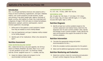 Solved: Application Of The Nutrition Care Process: CKD Int... | Chegg.com