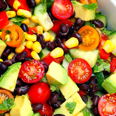 Cucumber, Black Bean, Corn, Tomato, and Avocado Salad ...