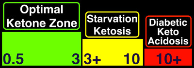 ... numbers in the chart refer to a blood ketone level measured in mmol/L