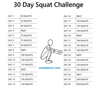 Printable 30 Day Squat Challenge | 2015 Calendar Printable