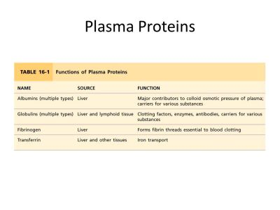14 PROPERTIES & FUNCTIONS OF VARIOUS FRACTIONS OF PLASMA PROTEINS ...