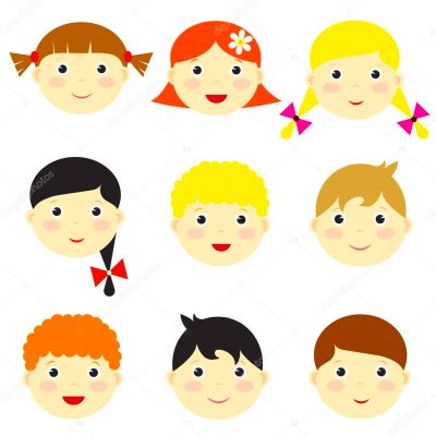 Vector kid faces — Stock Vector © Ann_Precious #13943312