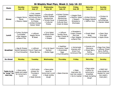 Meal Plan Monday: July 9–22 - The Nourishing Home