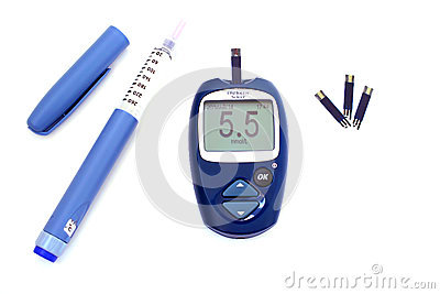 ... pen with insulin and blood glucose meter showing normal blood glucose