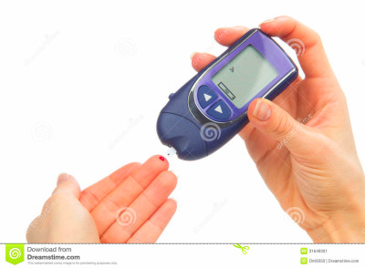 Dependent first type Diabetes patient measuring glucose level blood ...