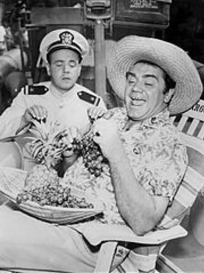 Conway and Ernest Borgnine in a photograph of McHale's Navy , 1962