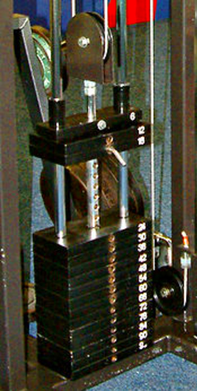 The weight stack from a cable machine : each plate weighs 6 kg .