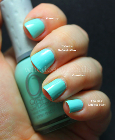 Orly Gumdrop vs. Wet 'n Wild I Need a Refresh-Mint
