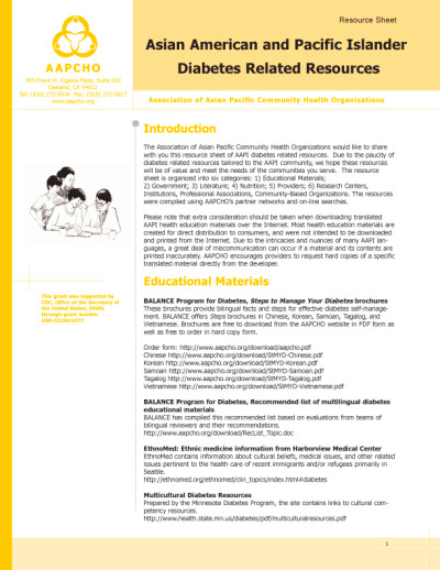 Asian American and Pacific Islander Diabetes Resources ...