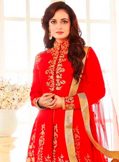 Red Embroidery Work Georgette Long Designer Wedding ...