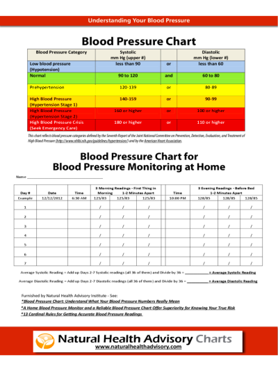 Blood Pressure Log Chart - 6 Free Templates in PDF, Word, Excel ...