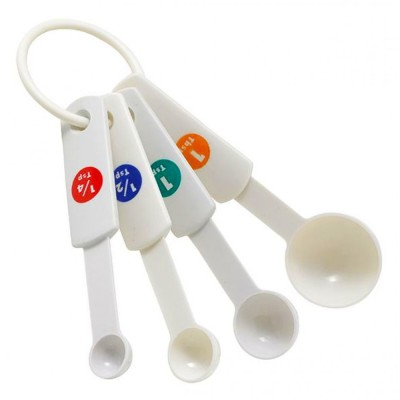 White Plastic Measuring Spoons With Capacity Marking, 1/4 ...