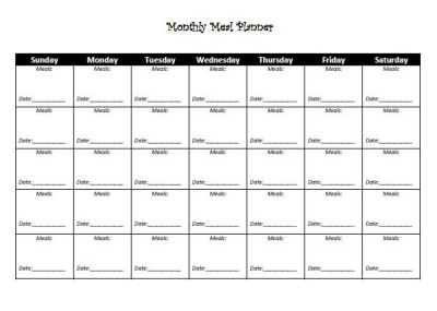 Monthly Meal Planner | Printable Template and Log Sheet