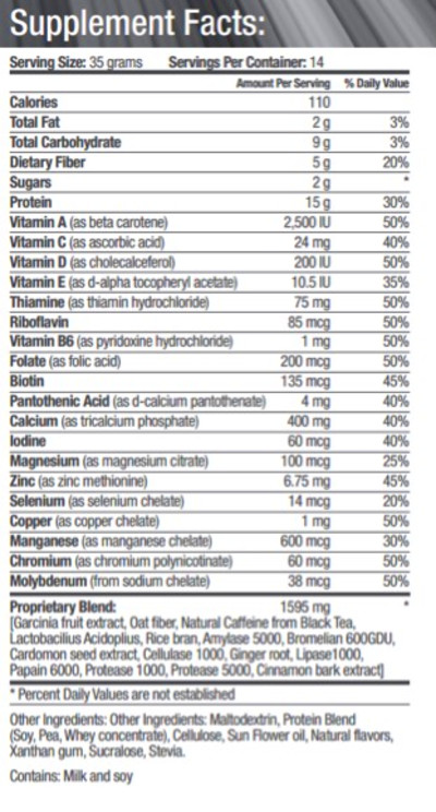 Here's the full ingredients chart for this supplement:
