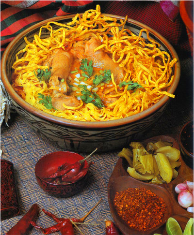 Northern Thai Chicken Curry served over Chinese Egg Noodles