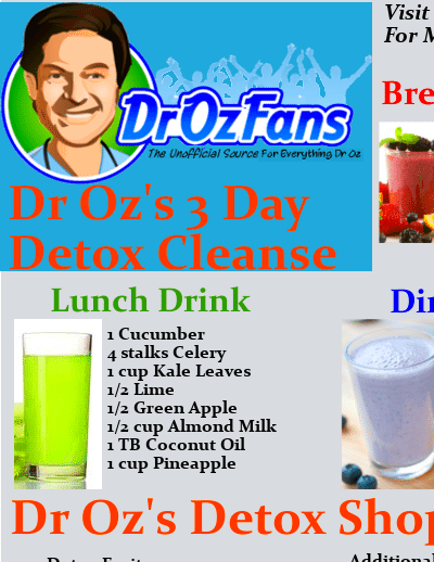Dr Oz's 3 Day Detox Cleanse Drink Recipes & Printable Shopping List
