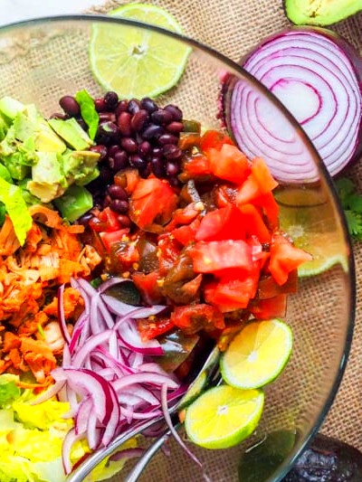 Jackfruit Pulled Pork Vegan Southwest Salad with Avocado ...