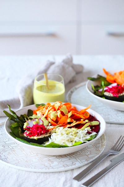 Rainbow Bowls with Green Tahini Dressing - Be Good Organics