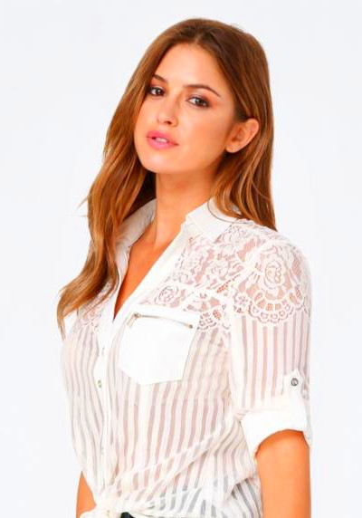 Lyst - Bebe Kaylee Lace Shirt in White