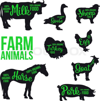 Black contour farm animals with a green inscription inside ...