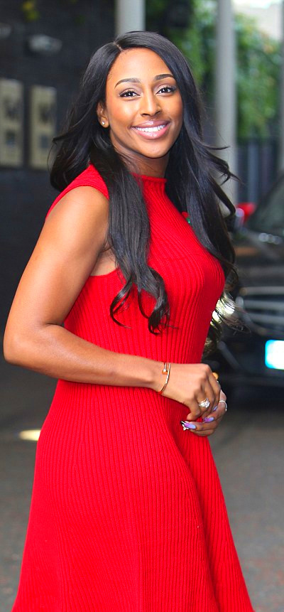 Alexandra Burke steals the show in bright red dress during Good Morning Britain appearance ...