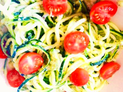 Zucchini Noodles With Creamy Avocado Basil Sauce | Recipe | Diabetic snacks, Zucchini noodles ...