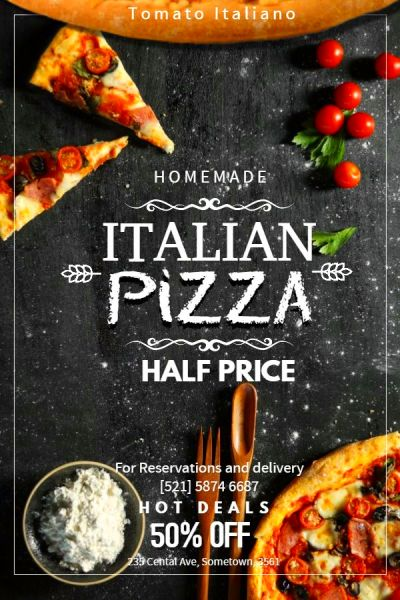 Italian pizza promotion poster design template ...