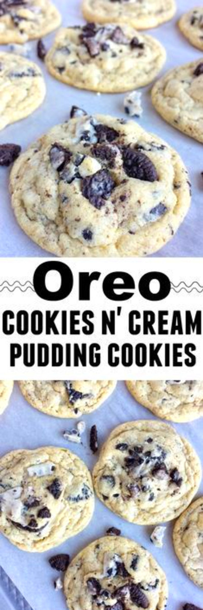 Oreo cookies & cream pudding cookies are thick, super soft ...