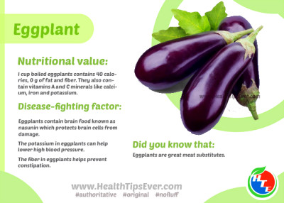 Eggplant Nutritional Value with Infograph – Health Tips Ever Magazine