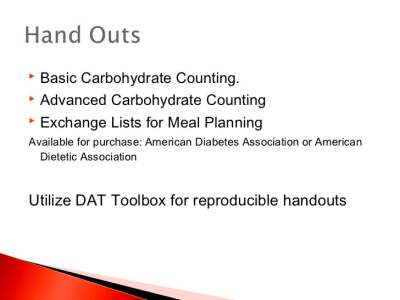 Basic carbohydrate counting final