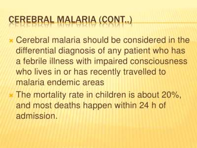 Malaria clinical features