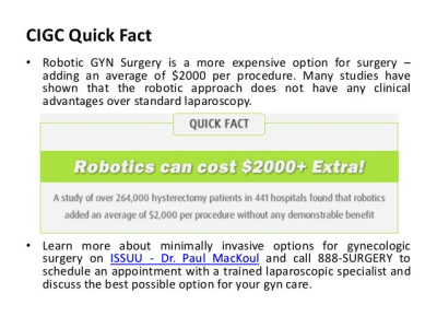 Why Say No to Robotic GYN Surgery
