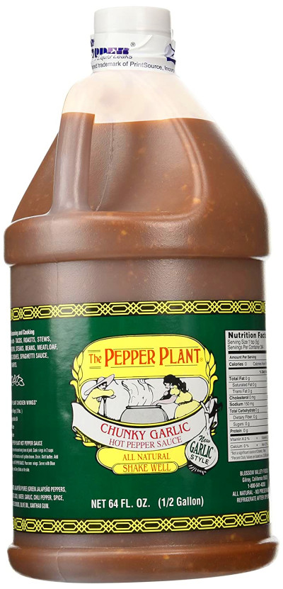 The Pepper Plant Chunky Garlic Hot Pepper Sauce 1/2-gallon ...