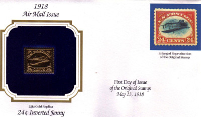 22KT GOLD REPLICA OF 1918 AIR MAIL First day Issue - First Day Covers