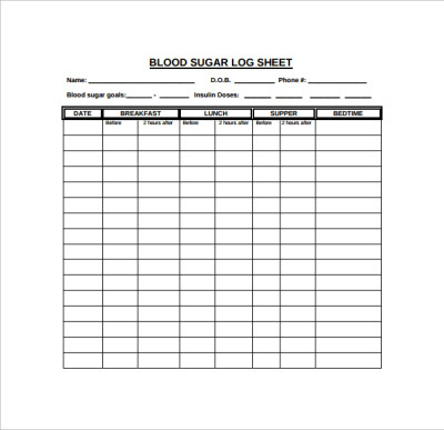 9 Blood Sugar Log Templates to Download | Sample Templates