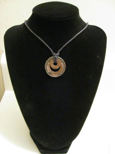 urban artifact necklace with matched rusty washers retaining