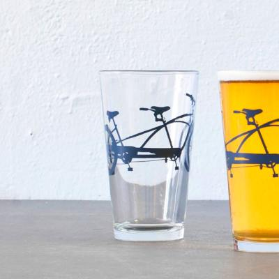 TANDEM BIKE PINT screen printed bicycle glasses by vital on Etsy