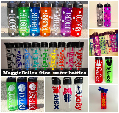 24 oz. personalized plastic water bottle with by Maggiebelles