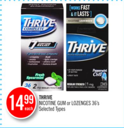 Thrive Nicotine GUM or Lozenges on sale | Salewhale.ca