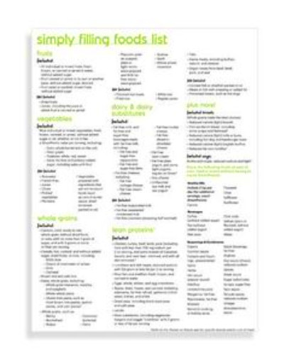 Simply Filling Foods List | Weight Watchers 2016: can download .pdf ...