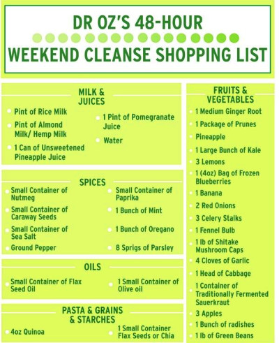 Shopping list for weekend cleanses | ideas :) | Pinterest ...